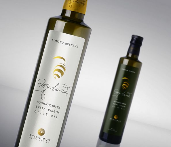Two bottles of My Land olive oil
